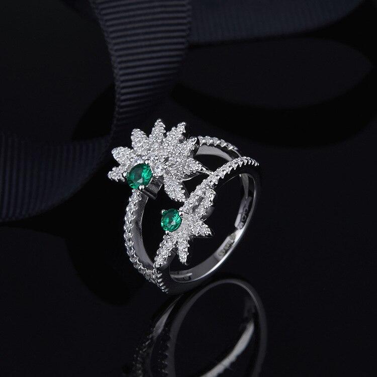 Nouvelle arrivée Double cristal menthe vert fleur anneaux S925 en argent sterling Monaco fiançailles bagues de mariage bijoux femme