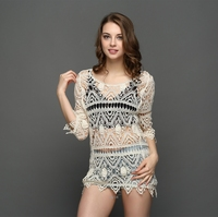 Europe And America New Style Hollow Out Hook Embroidered Flower Beach Gauze Blouses SKN6351
