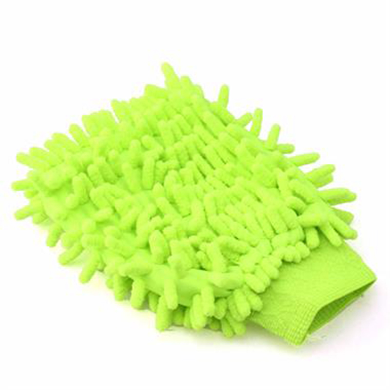 Green Color Washable Car Washing Cleaning Gloves at STKCar.com