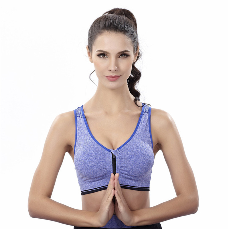 CHRLEISURE S-L 4 Colors Womens Push Up Bra Wireless Full Cup Single-Bra Anti-Rattle Front Zipper Vest Design Workout Bra