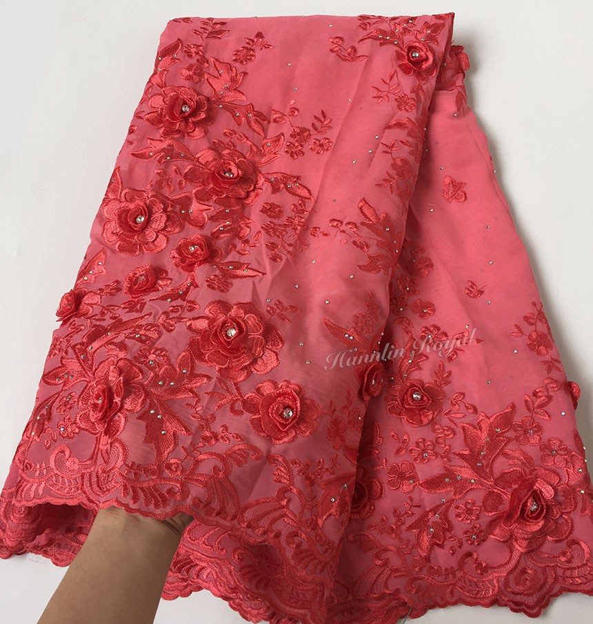 soft coral red Original Swiss Voile Lace African Lace Fabric Chiffon material with lots of stones