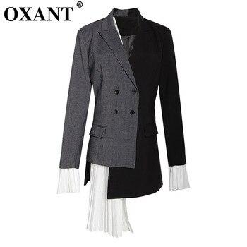 Women's Blazer Outerwear Female Niche Design Asymmetrical Contrast Color Personality Stitching Flounce Edge Show Thin Long Suit