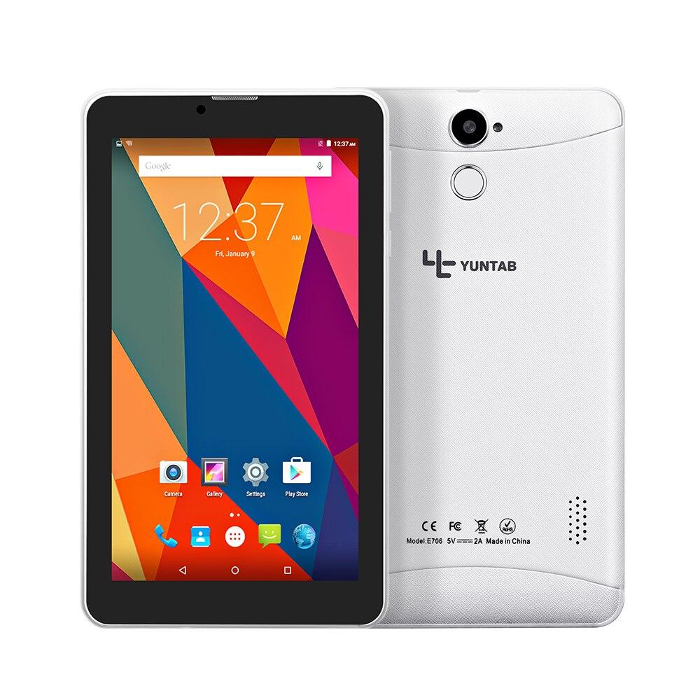 Yuntab 7 pouce 3G Débloqué Smartphone E706 Tablet PC Android 6.0 MTK8321 1.3 GHz Quad Core IPS 1024*600 Google GPS Bluetooth