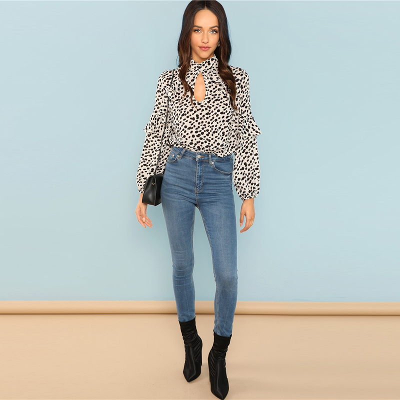 Dotfashion Black And White Ruffle Trim Leopard Womens Tops And ... 9a8dc84b7