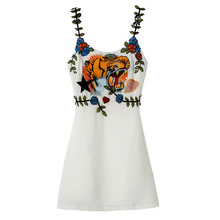 16 France Italy USA  Dress Tiger Head Heavy Embroidery Girl Dress Slim Waist Sexy Short Dress  Women Vintage Spaghetti Strap OL