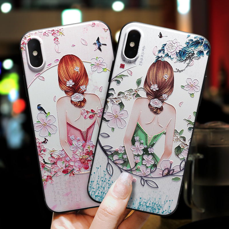 IMIDO 3D Vintage Pattern Matte Fresh Color TPU Soft Silicone Cases For iphone 6 7 8 X Anti fall Lanyard Fashion Back Cover
