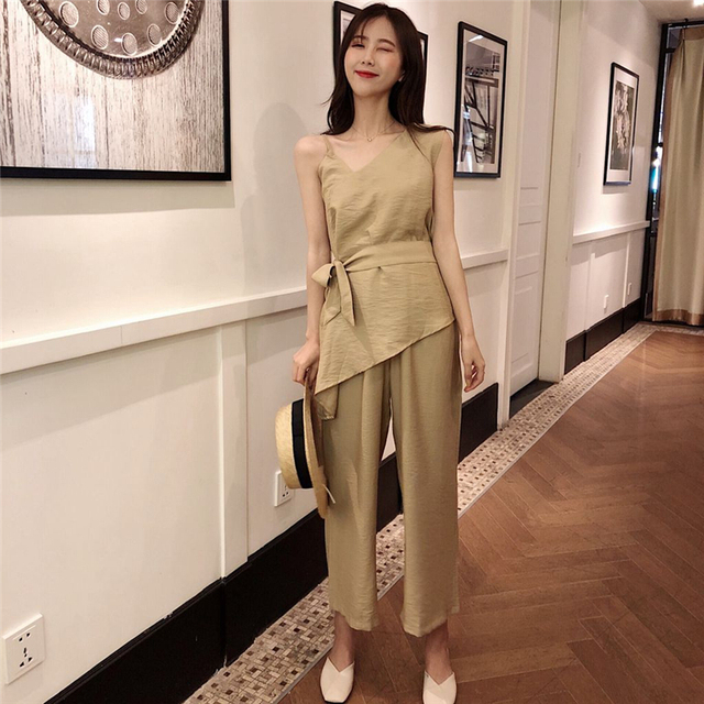 24a5a58c6b56 SUDB Summer Costumes For Women Linen Suit Women Pant Set For Wedding  Pullover And Pants Set