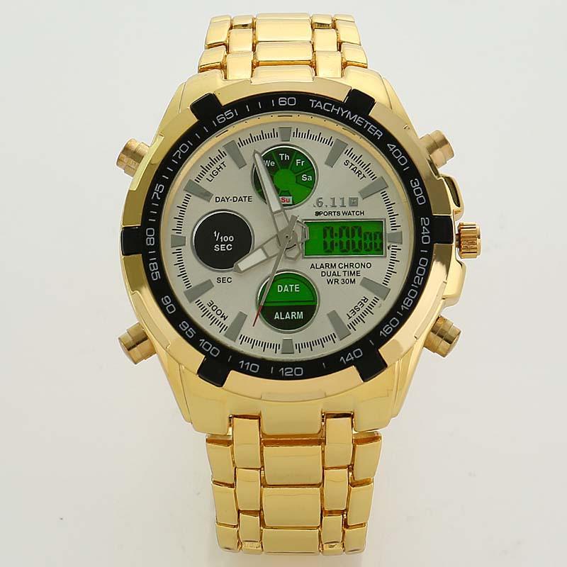 2539cc8e747b Moda Para Hombre Reloj Del Deporte Led de Oro Cara Grande Reloj ...