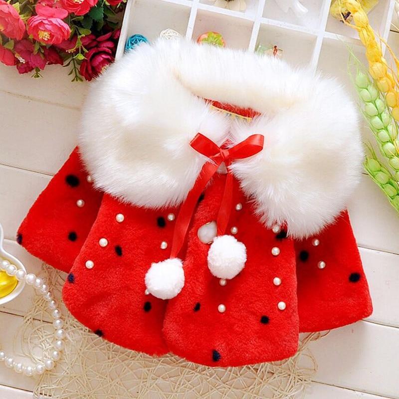 Autumn Winter Baby Girls coat Faux Fur Pearls Fleece Lapel Collar Infant Kids Outerwear Princess Jacket Coats