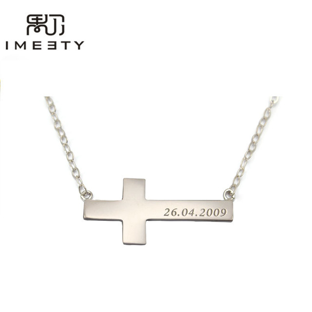 Imeety custom cross necklace silver bar necklace handmade engraved imeety custom cross necklace silver bar necklace handmade engraved bar data necklace sideways cross necklace for mozeypictures Images