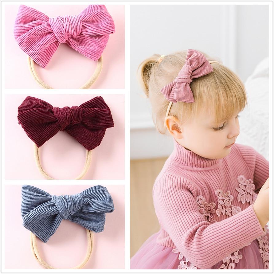 Handgemachte samt Turban Bogen Stirnband Baby Kids elastischen Knoten Haarband