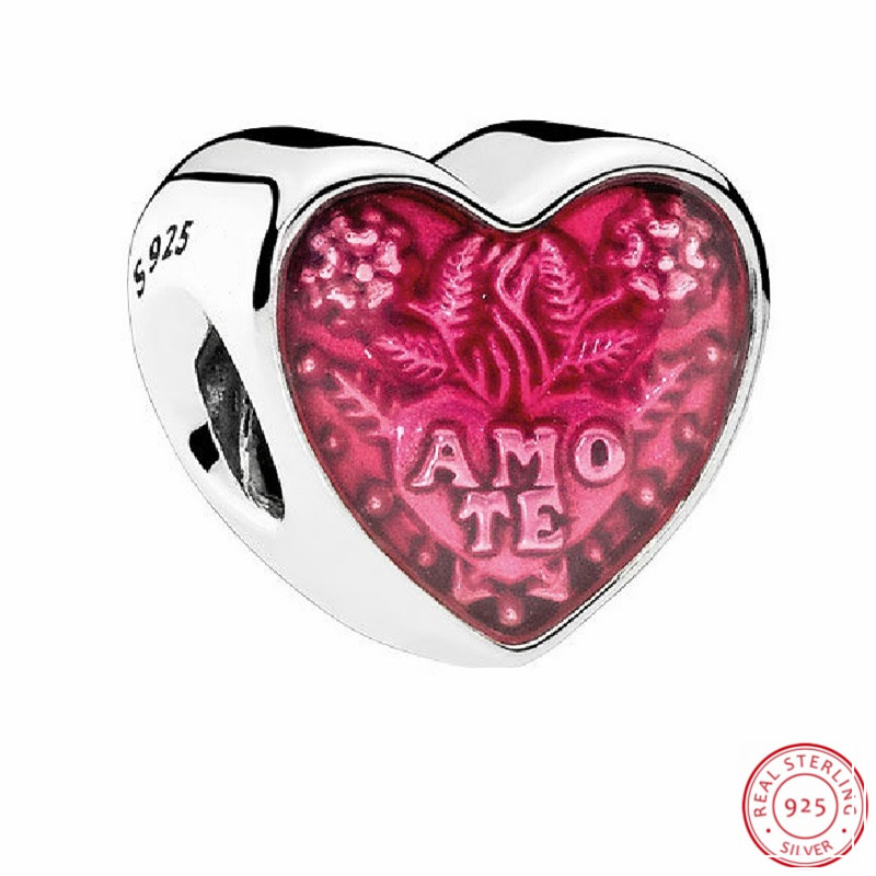 Valentine's Day Gift Pink Enamel Latin Love Heart Beads for Jewelry Making DIY Fit PANDORA Charms Silver 925 Original FL498(China)
