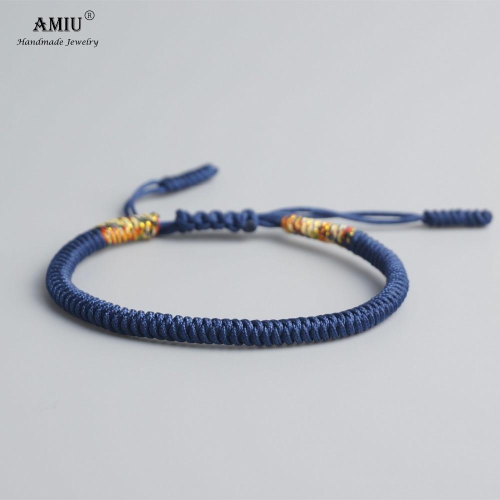 AMIU Tibetan Buddhist Lucky Charm Tibetan Bracelets & Bangles For Women Men Handmade Knots Deongare Rope Christmas Gift Bracelet