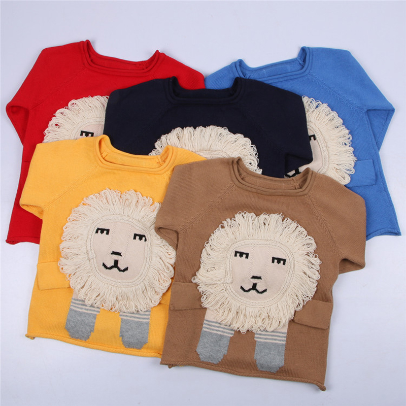0-5yrs Kids Knitted Sweater Spring Autumn Boys Girls Children Lion Cartoon Sweater Fashion Personality Cute 100% Cotton Sweater