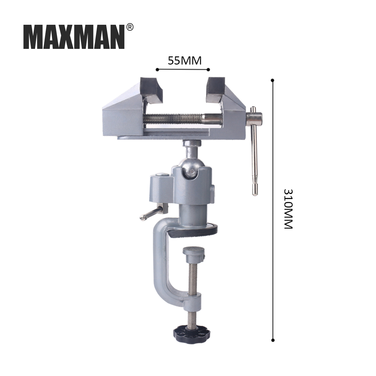 MAXMAN TOOLS Bench Vise Aluminum 75mm Table Screw Vise Bench Clamp Screw Vise for DIY Craft Mold Fixed Repair Tool
