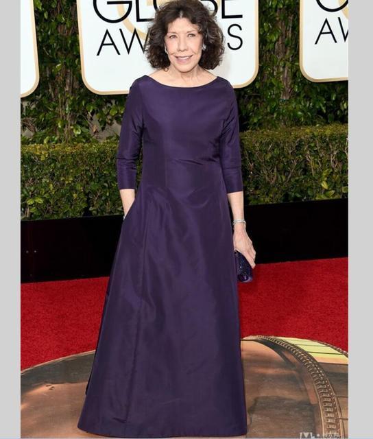 Vestidos de celebridades Lily Tomlin Golden Globe Award Colher Manga 3/4 kylie jenner Vestido tapete vermelho Vestidos de Noite vestido de festa