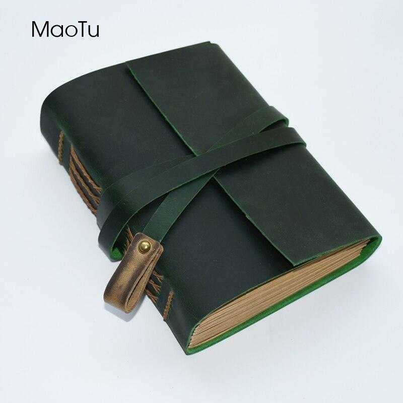 Винтажный блокнот MaoTu из толстой кожи, Дневник для записей, блокнот ручной работы, чистая крафт бумага, подарок на день рождения