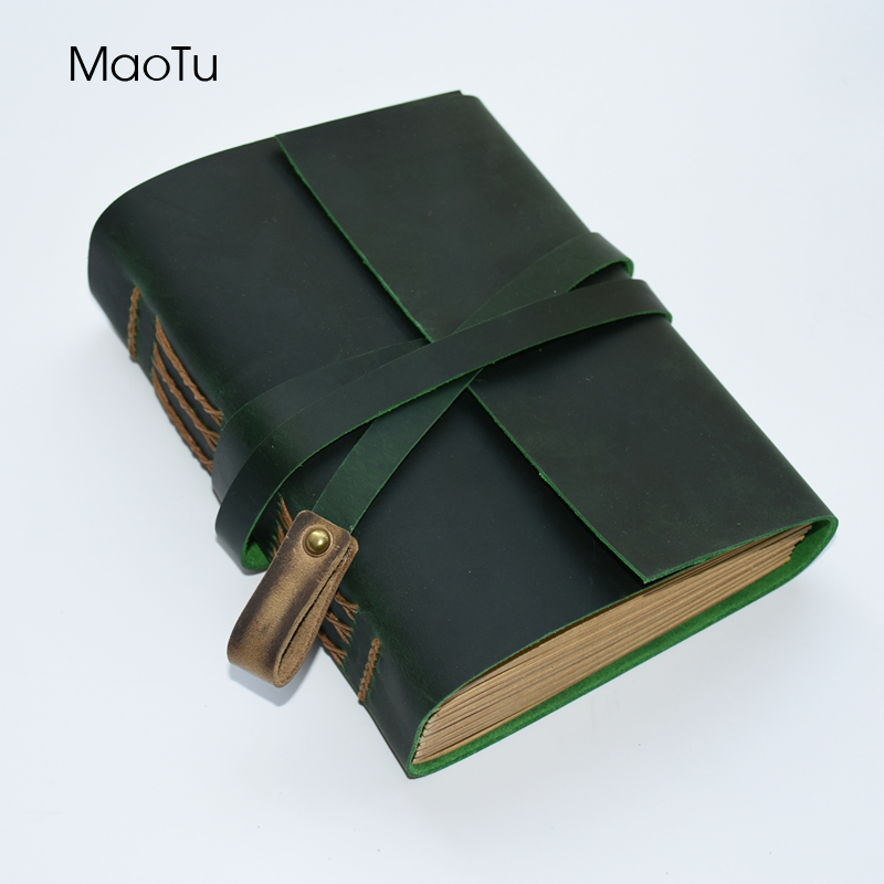 купить MaoTu Vintage Thick Leather Journal Diary Book Writing Notebook Antique Handmade Notepad Blank Kraft Paper Birthday Gift недорого