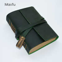 MaoTu ヴィンテージ厚い革ジャーナル日記帳書き込みノートブックアンティークハンドメイドメモ帳の空白クラフト紙の誕生日ギフト