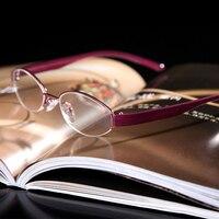 = SHUAI DI = Semi-Rim Tr90 Leg Hd Anti-Fatigue Coated Lenses Pink Fashion Women Reading Glasses +0.5 +0.75 +1 +1.25 To +6