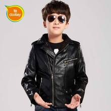 DOOLLEY Children Christmas New Year Clothing Boy Black Leather Jackets Kids Fashion Coats Size 110-150 cm