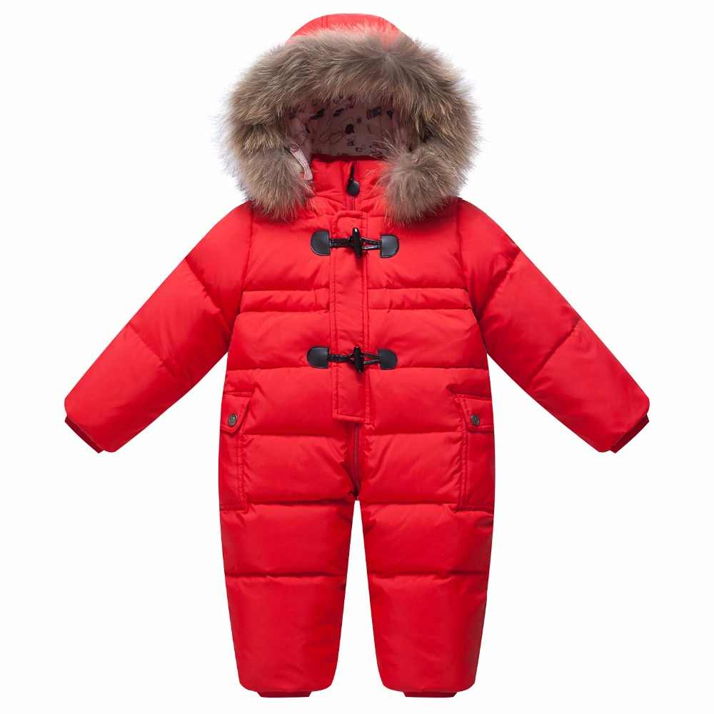 d5d122015e Winter Overalls baby warm clothes Duck Down Rompers Snowsuit Outerwear Boy  Snow Wear Children Jumpsuit Girl Real Fur Clothing