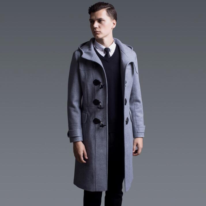 €101.64 20% de DESCUENTO|Abrigo largo casual gris negro de lana para hombre con capucha abrigos para hombre Inglaterra boton abrigos 2019 primavera