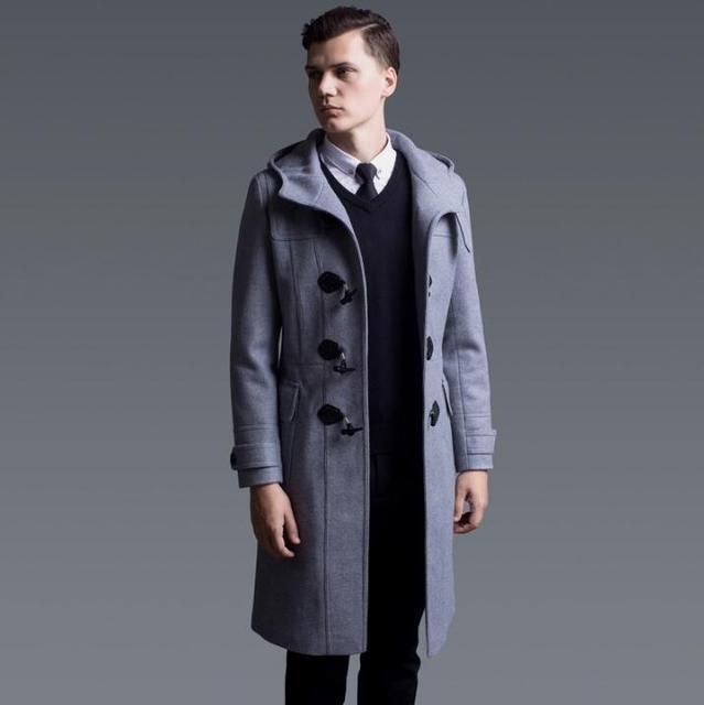 d4b89c2636da1 Negro gris casual abrigo largo de lana de los hombres con capucha abrigos  Inglaterra cuerno botón