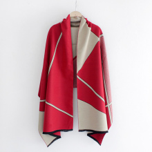 2016 New Winter Scarf Women Wool Cashmere Pashmina Female Contrast Patchwork Bandanas Headwear Brand New