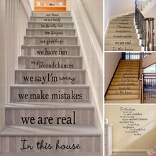 Nesta casa removível adesivo de parede sala de estar escadas piso decalque escada para casa e sala de estar adesivos de parede