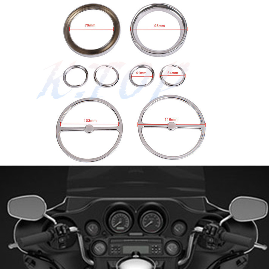 Motorcycle Chrome Speedometer Gauges Bezels Horn Cover Fit For Harley Electra Street Road Glide