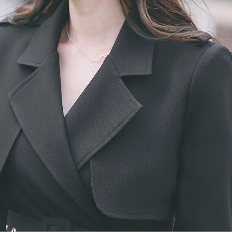 Et Printemps Taille Plus Conception Femmes Automne Tranchée Mode Survêtement Pardessus 2017 De Longue Mince La Noir qH544B