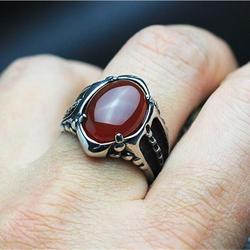 Black red onyx stone mens ring thick band in well polished antique titanium stainless steel vintage.jpg 250x250