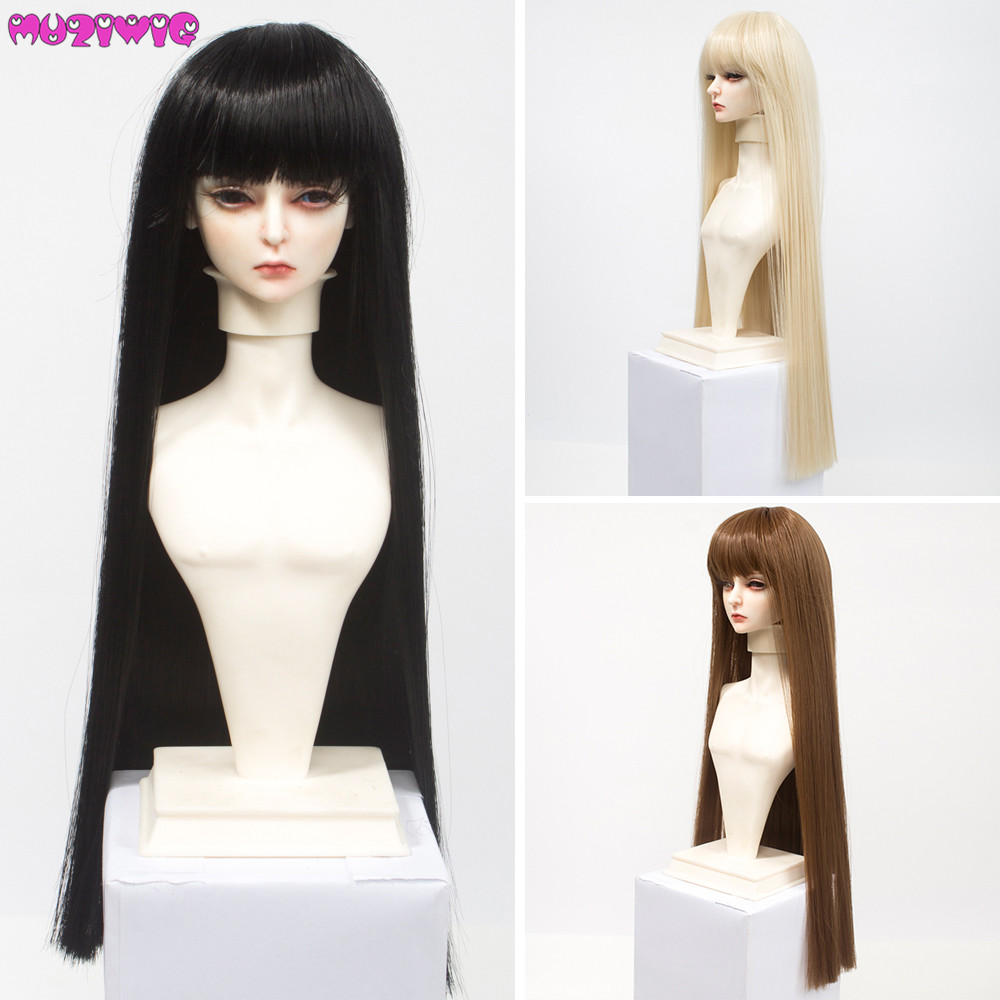 High Quality 1/6 1/4 1/3 Doll Wig Hair Heat Resistant Wire Long Black Brown Khaki White Straight Wigs for BJD/SD Doll
