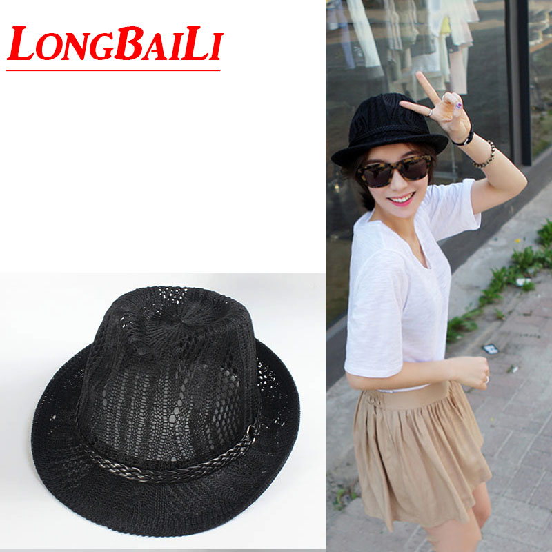 Trendy Summer Cutout Sun Beach Hats For Women Chapeu Fedoras Jazz Hat Female  MEDS038