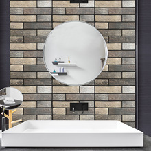 Retro Brick 3D Tile Stickers PVC Self Adhesive Vinyl Wall Stickers for Living Room, TV Background Wall, Bathroom, Kitchen Decor 3d vinyl wall stickers planet living room
