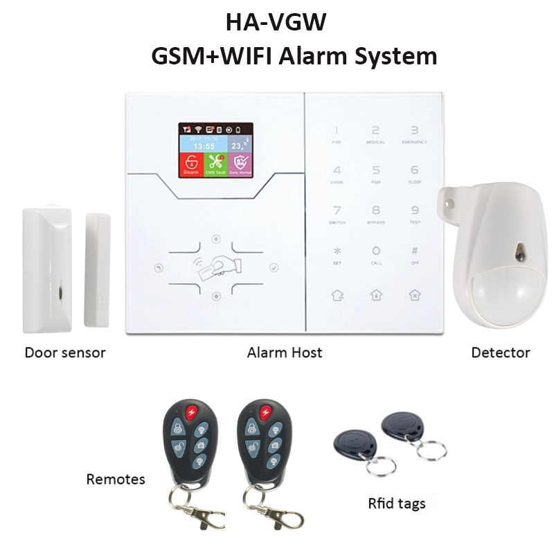 Focus GSM WiFi Smart Home Alarm System Color LCD APP Remote Control RFID Arm Disarm Intruder Alarm Pet Immune HA-VGW French