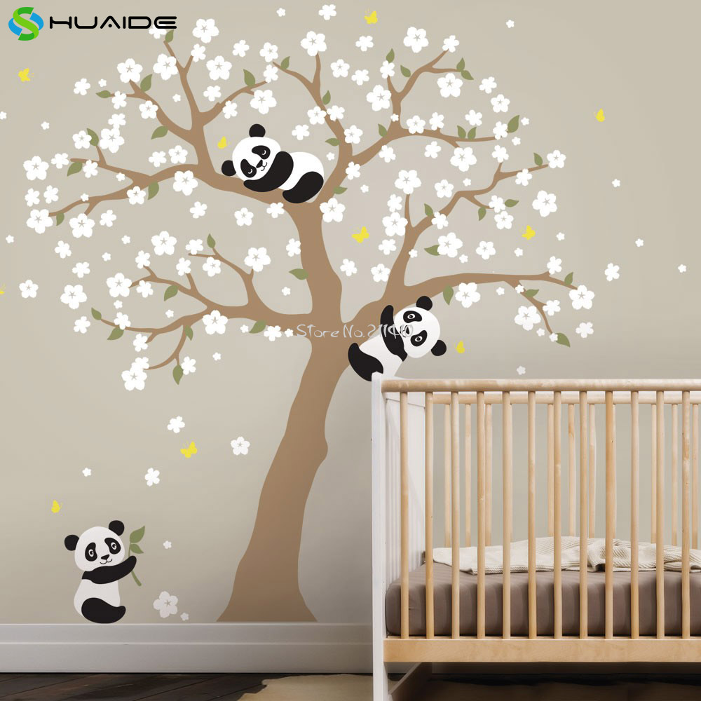 Cute panda and cherry blossom tree wall decal for nursery large cute panda and cherry blossom tree wall decal for nursery large tree wall stickers for kids room girl boy room wall tattoo a400 in wall stickers from home amipublicfo Image collections