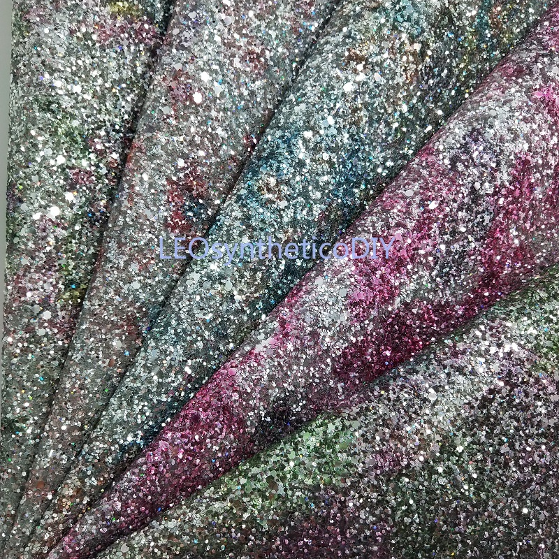 Rainbow Chunky Glitter Fabric with Synthetic Leather Fabric for shoes handbags sofa bows and DIY Accessoires