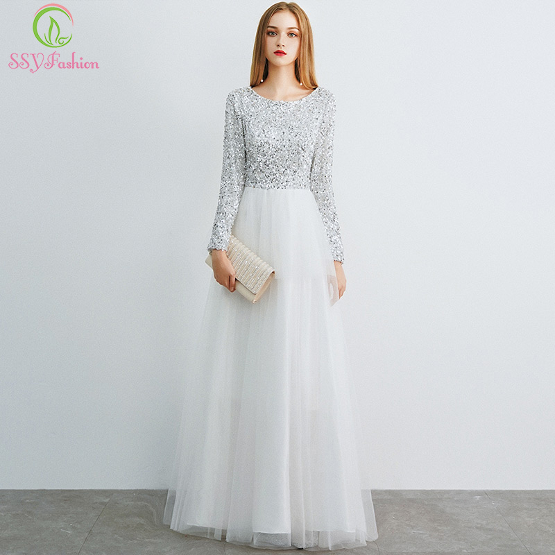 SSYFashion New Simple Long Sleeves   Evening     Dress   White Sequins with Soft Tulle Splice Elegant Party Formal Gown Robe De Soiree
