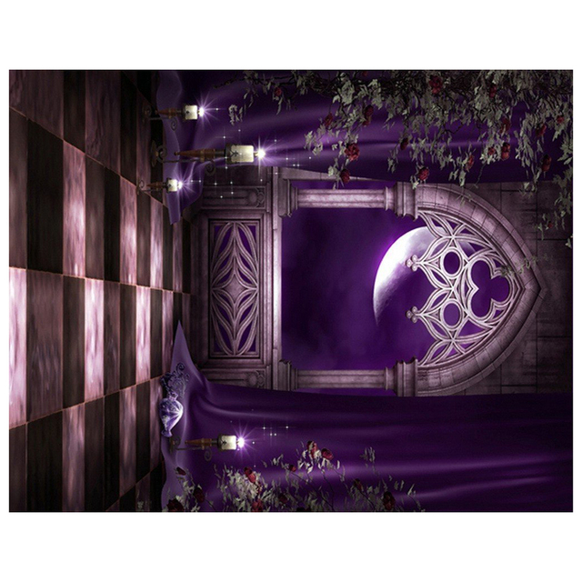 halloween mysterious scene gothic domed architecture arch door photography backdrop wall mural purple rattan flowers