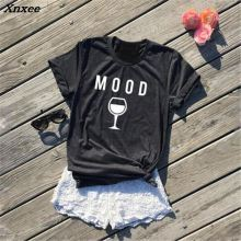 Top Women Fashion Crewneck Casual Cotton Comfy Tees MOOD Wine Graphic T-Shirt Tumblr Lovers T Shirt Female Short Sleeve Tshirt