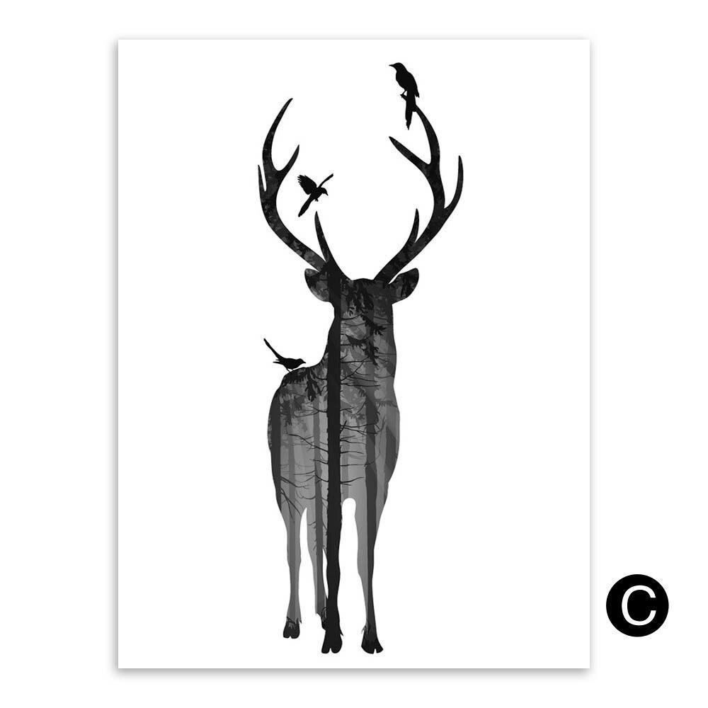 Silueta moderna blanco y negro animal Alces forestales elefante ...