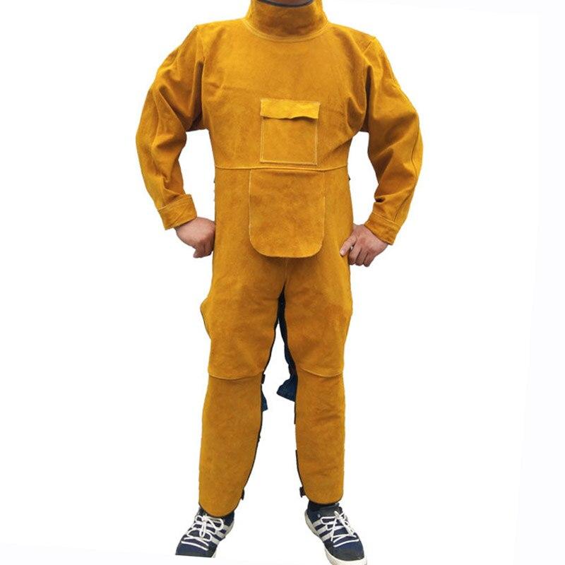 Vestuário de proteção de soldagem couro rachado chama retardador soldador aventais manga longa perna envoltórios roupas segurança trabalho