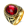 YIERLOVE  New fashion Men Rings Red Precious Stones Antique 316L Stainless Steel Ring For Men Retro rings