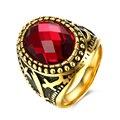 Yierlove novos homens da moda anéis de pedras preciosas vermelho antigo anel de aço inoxidável 316l para homens retro dos anéis