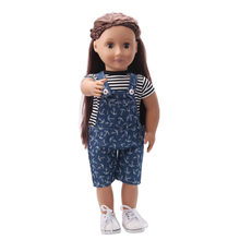 Casual black and white striped T-shirt with jeans overalls, suitable for 18-inch girl dolls and 43-cm doll accessories ts86(China)