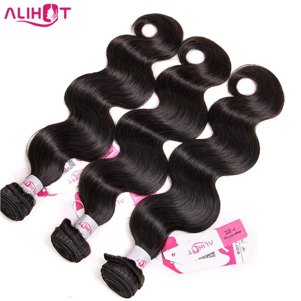 ALI HOT Hair Malaysian Body Wave 8-28Inch Human Hair Weave 3 Bundles 100% Remy Hair Weaving Extensions Double Weft Free Shipping