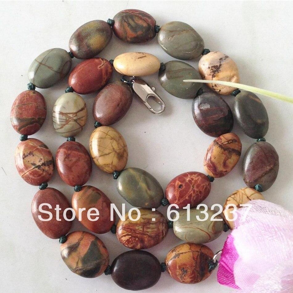 Natural Picasso pietra 10x14mm moda forma ovale perline migliore vendita  della catena della collana del choker per le donne monili di fascini 18  pollici ... fd135d33f1d1