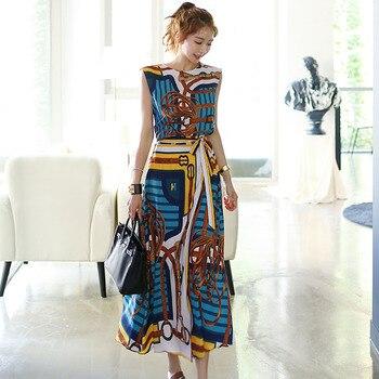 Новая мода 2020, дизайнерский комплект из 2 предметов, женская шифоновая рубашка без рукавов с винтажным принтом «ласточкин хвост», топ + длинные юбки на шнуровке, комплект из 2 предметов